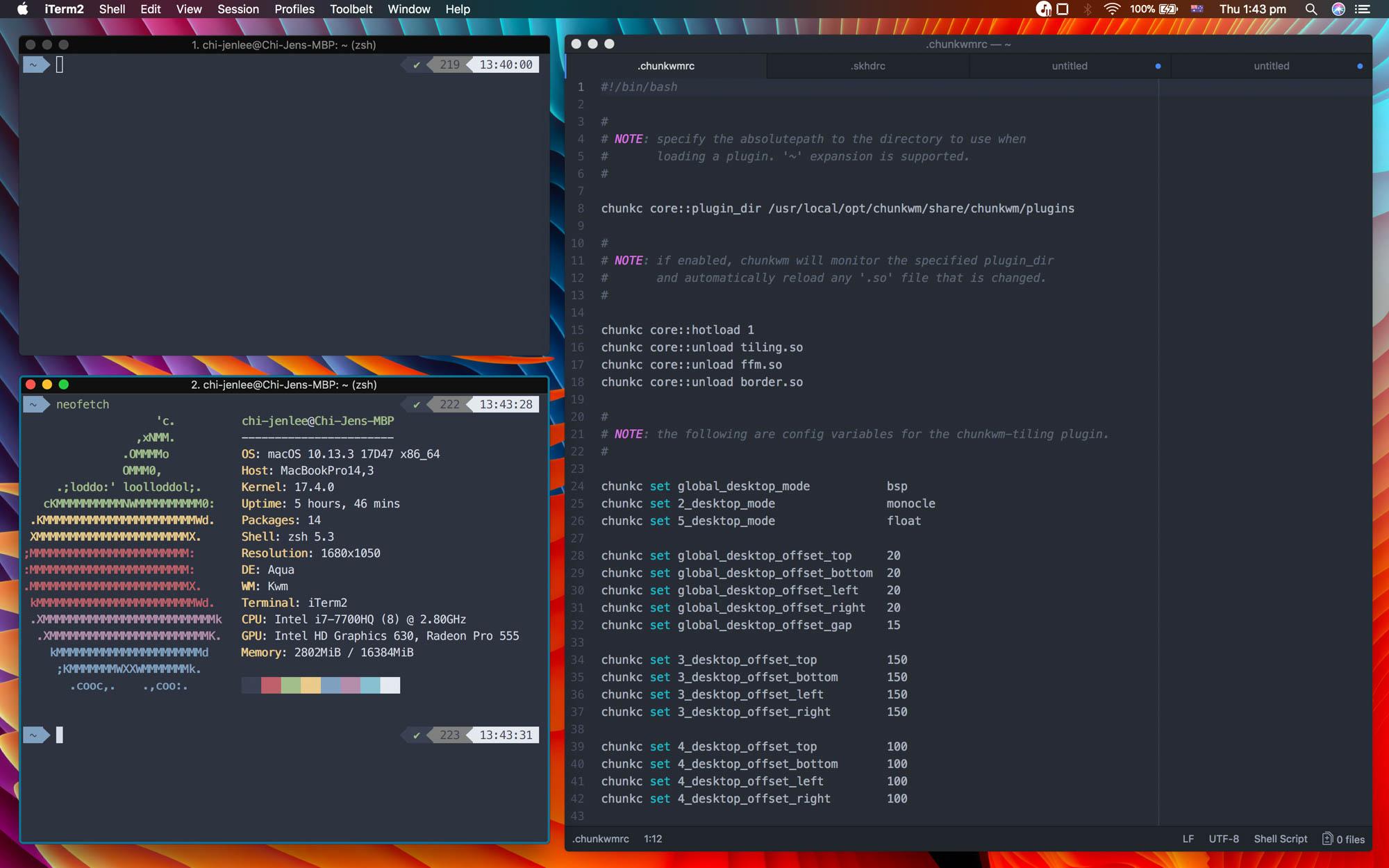 Tiling Window Manager (chunkwm) | Steven Lee